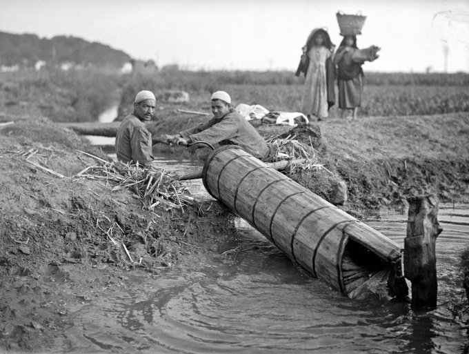 Archimedian screw in use for irrigation, Egypt, 12 July 1943.jpg