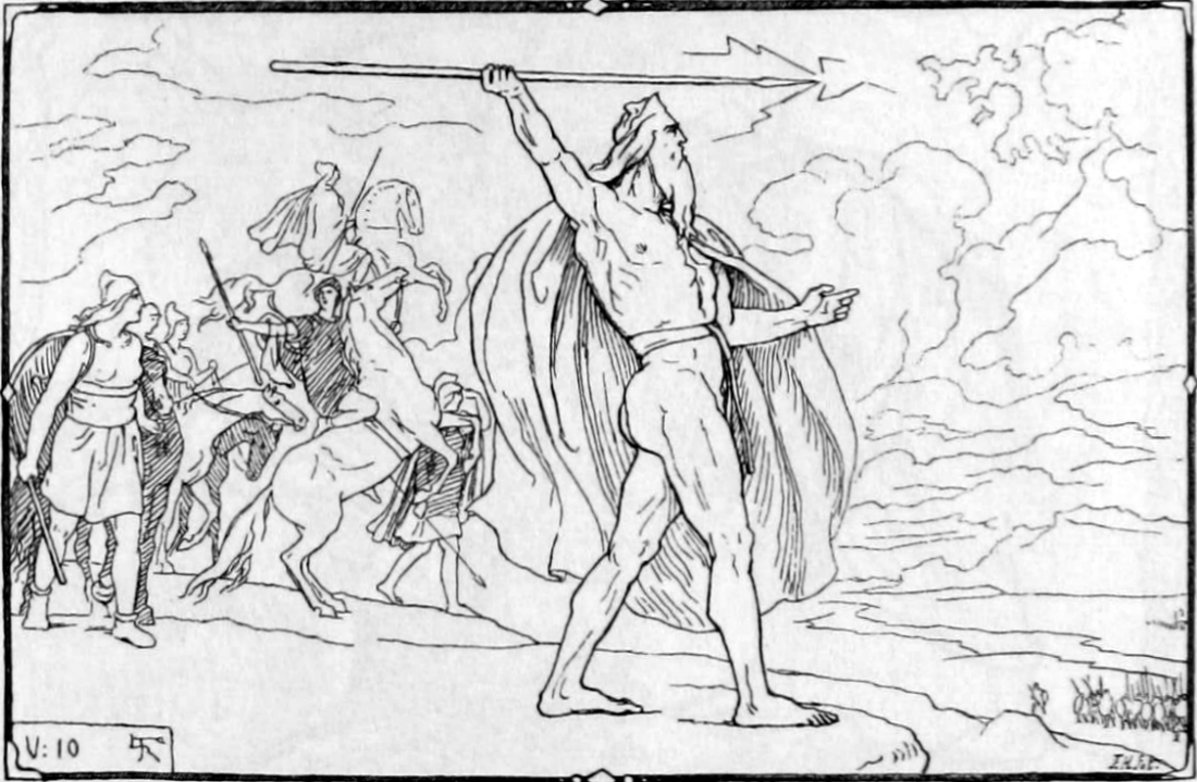 """Odin throws a spear at the Vanir host in the Æsir-Vanir war"" por Lorenz Frolich (1895)."