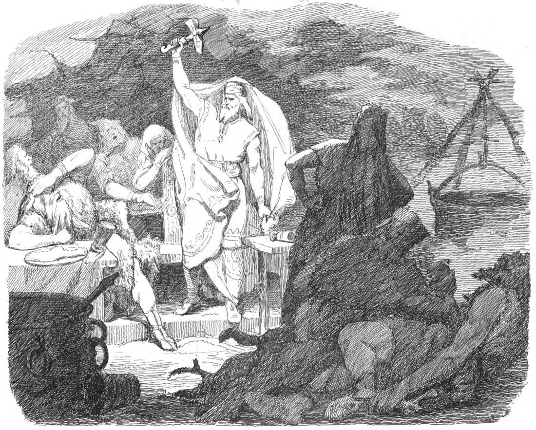 """Litografía: """"Hammar-hämtningen III. Thor återfår hammaren"""" (1865) por Mårten Eskil Winge."""